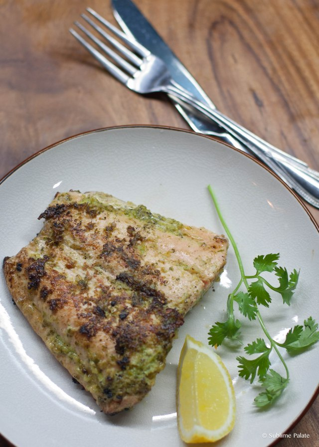 Crispy Salmon with Garlic Coriander Sauce